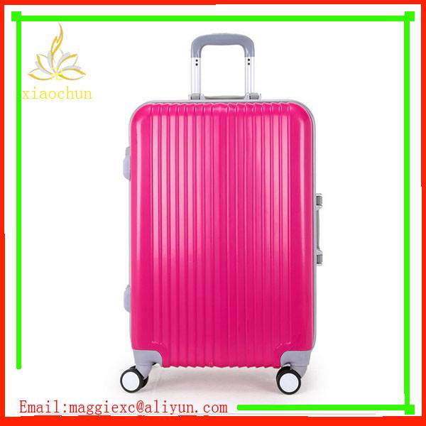 Pink ABS+PC Aluminum Frame Luggage Four Wheels Suitcase