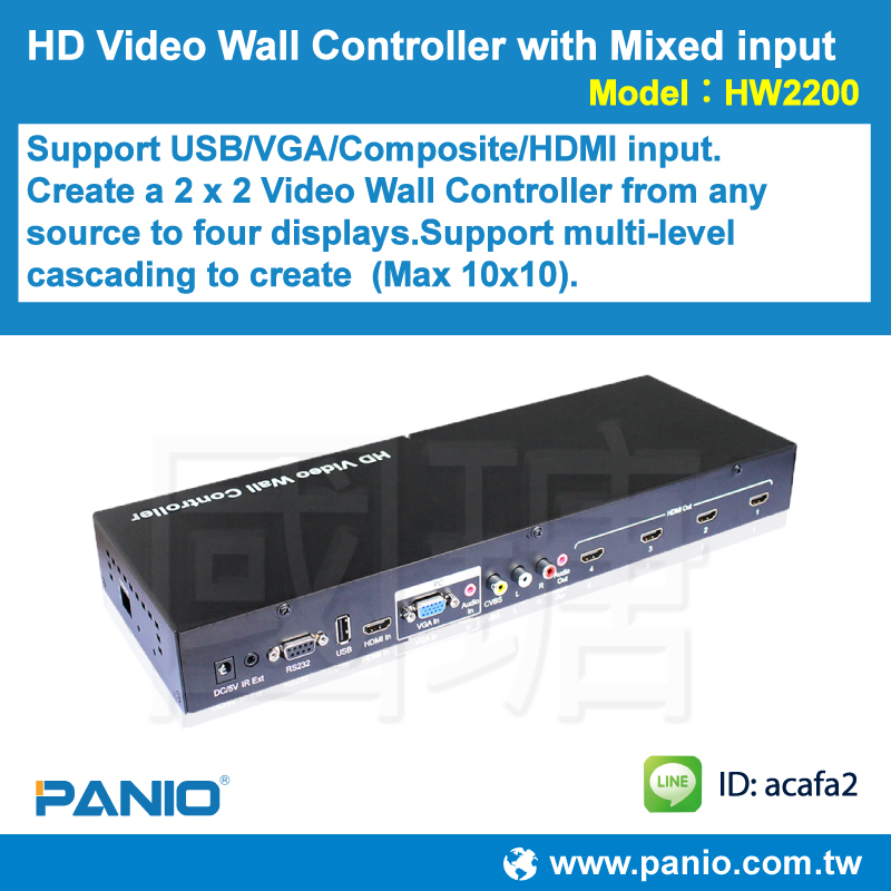 Mixed input Video Wall Controller (HDMI / VGA / Composite / USB)