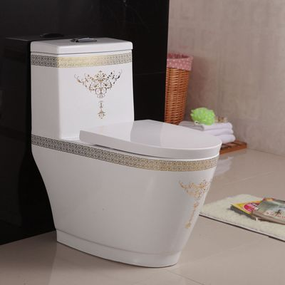Bathroom ceramic golden new design one piece toilet bowl