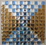 Decorated diamond glass mosaic tile