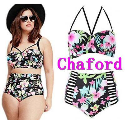 Womens Plus Size Vintage Floral High-waist Bikini Swimwear Beach