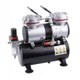 Dual piston Airbrush compressor with tank AS196