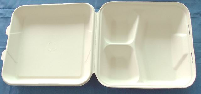 9 inch 3 compartment disposable takeaway fast food bulk pack paper clamshell