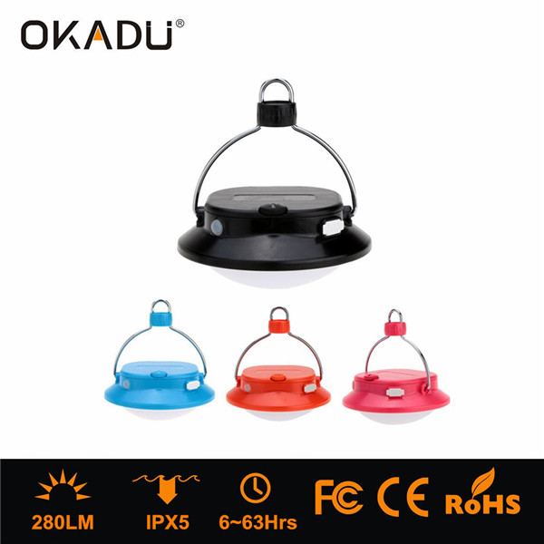 OKADU FL06 280Lm White+Red LED Tent Light 2x18650 Rechargeable Battery Camping Lantern USB Camping L