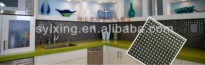 diamond shape metal mosaic tile for kitchen docoration