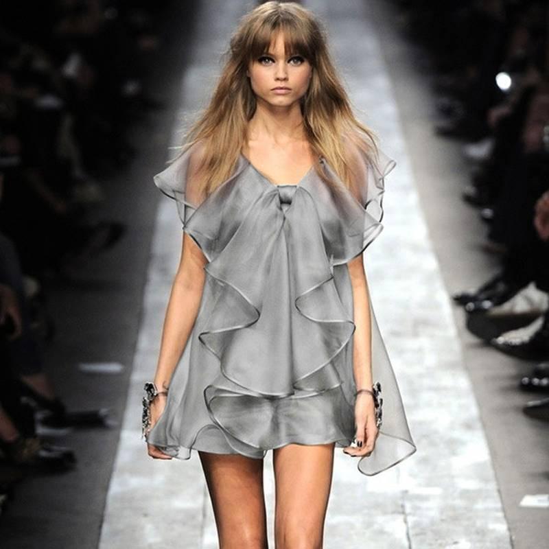 2015 Summer New Type Ruffles Ou Gensha Voile Dress Cute Fashion Noble Party Dress