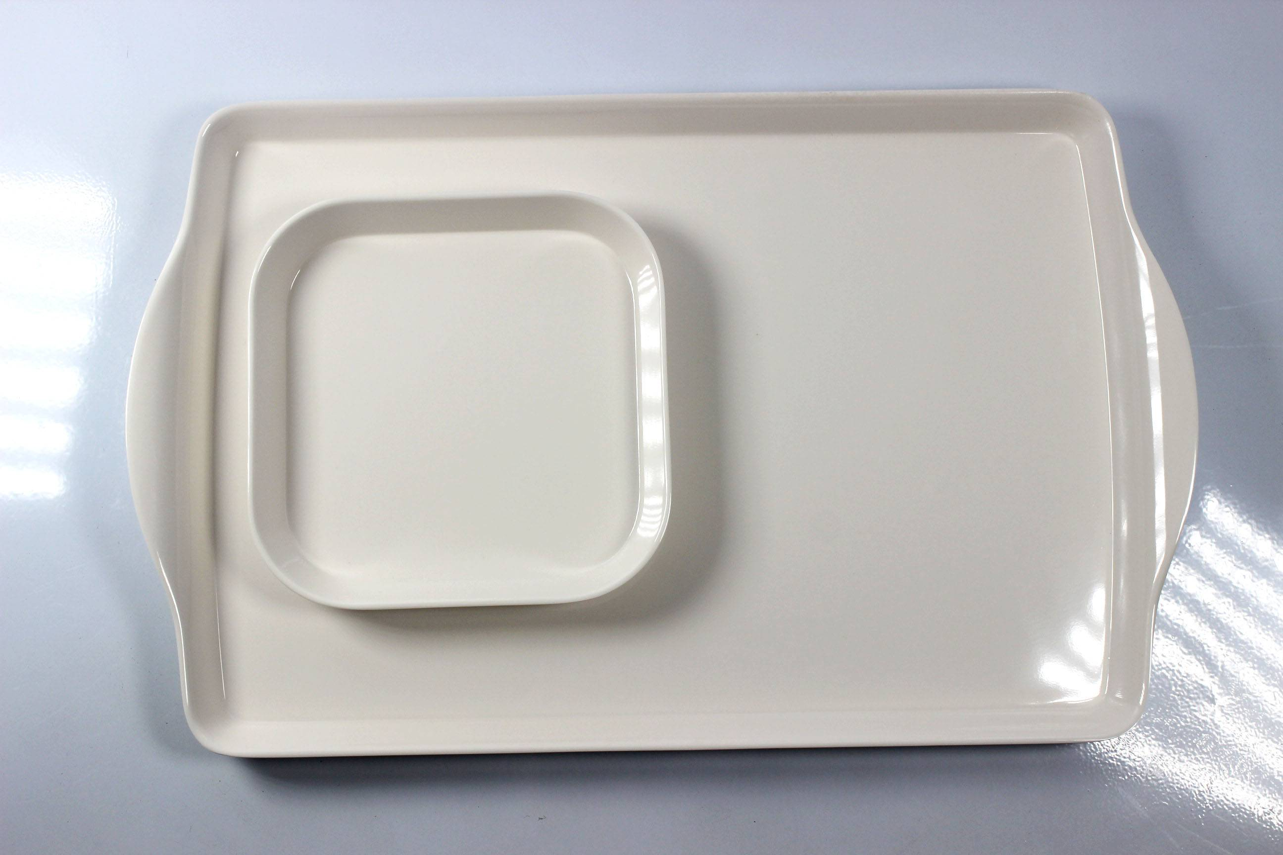 6'' square and 15'' double ear melamine tray