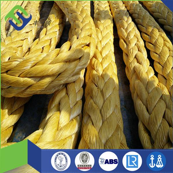 38mm uhmwpe rope 12 strand yellow color