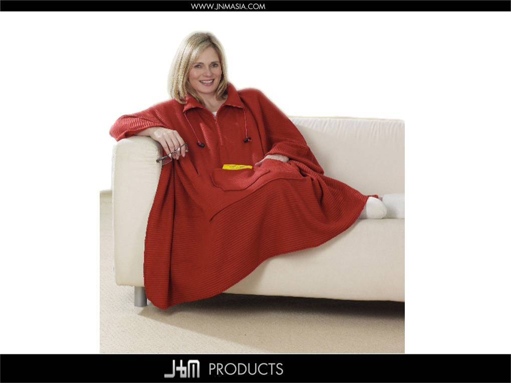 100% Polyester Ribbed Fleece Sofa Poncho