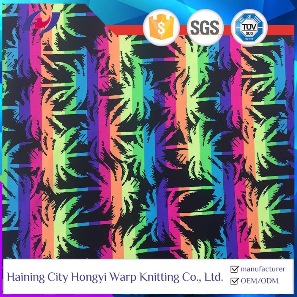UPF 50 Swimwear Fabric Tropical Print Polyester Stretch Fabric For Swimwear