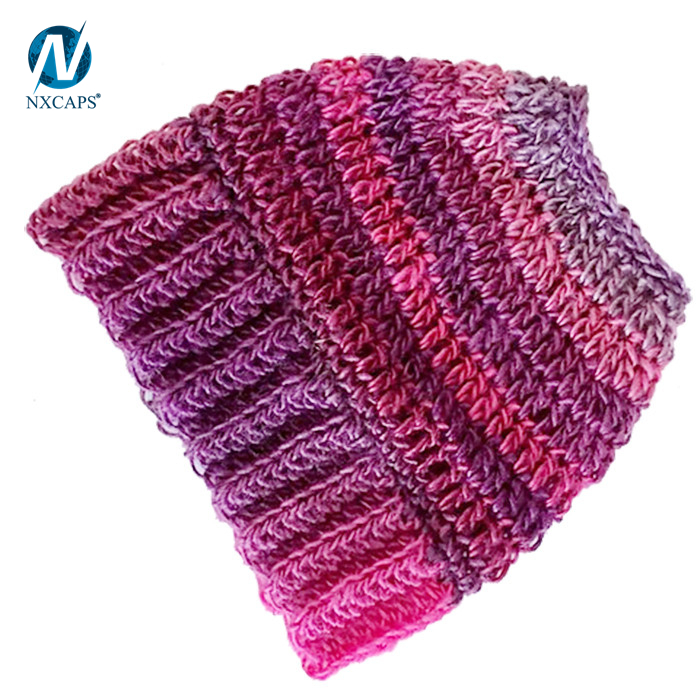 Messy bun hat Wholesale ponytail beanie hat jacquard winter cap straight needle knit hat