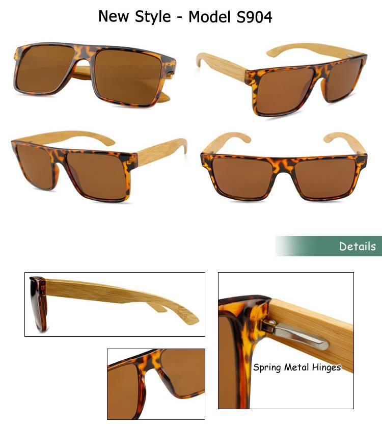 Plastic custom bamboo sun glasses fashion wood sunglasses FDA factory manufacturer wooden sunglasses