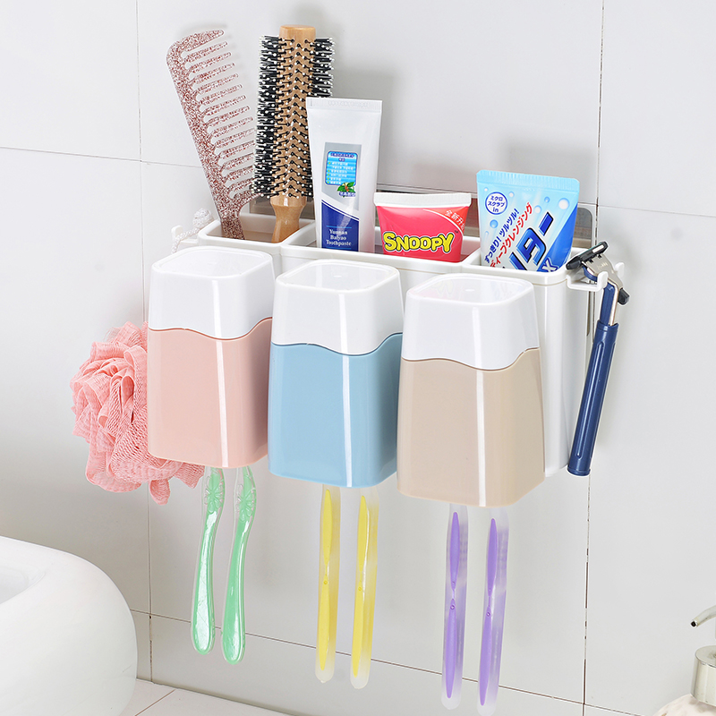 Family Wall Mounted Toothbrush and Toothpaste Holder with 3 Cups