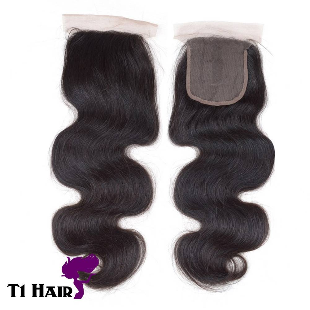 T1 Hair Grade 6A Brazilian Virgin Body Wave Human Hair Lace Top Closure 4*4 Middle Part 150% Density