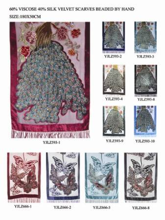 60% viscose 40% silk velvet shawls with fringe