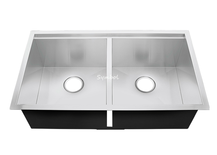 50/50 Double Bowl Undermount Kitchen Sink With Ledge