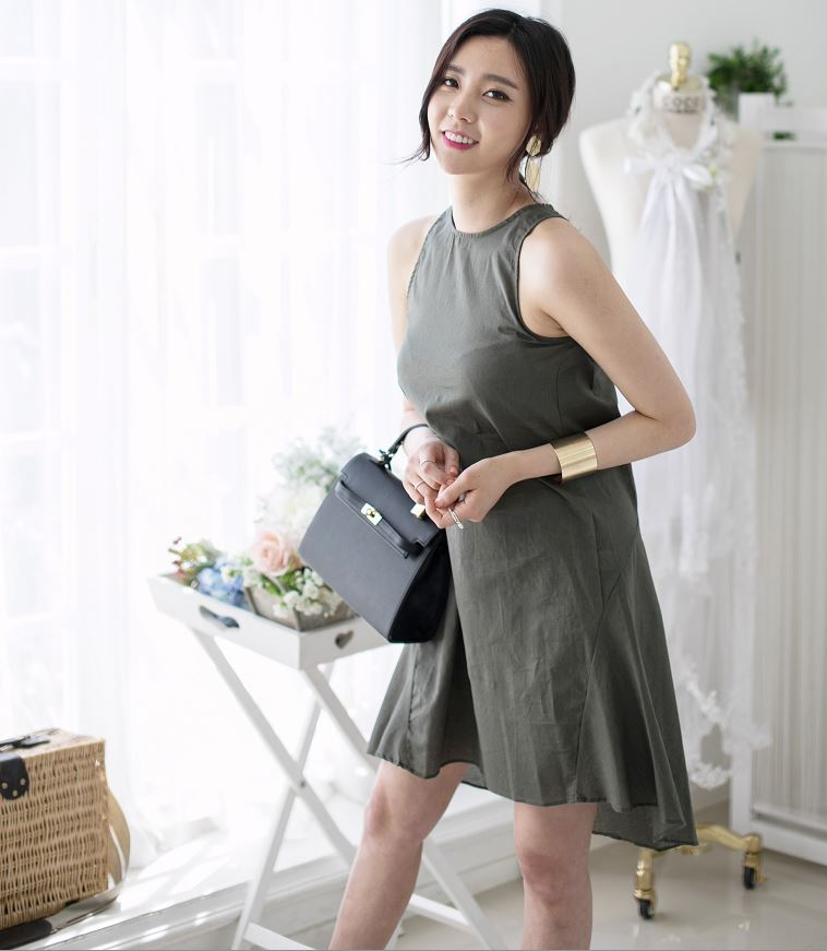 Summer New Style Causal Korean Style High Fashion linen dress for women