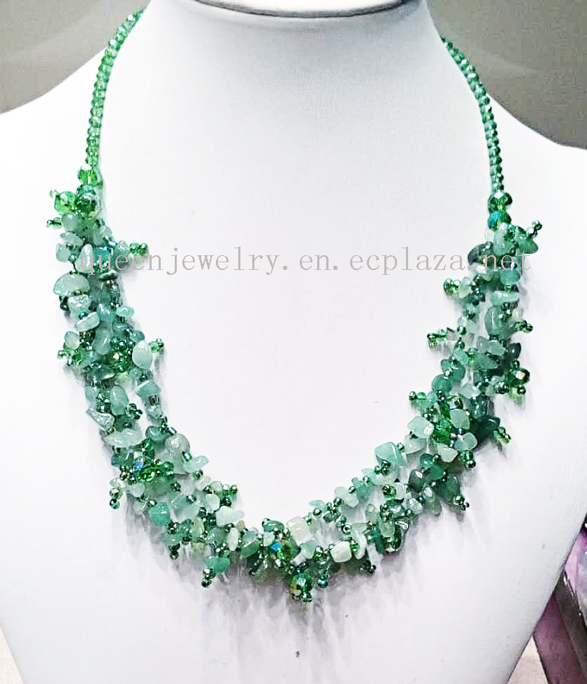 customized Jewelry Handwork Wonderful Luster Natural green Stone Beads Necklace earring set