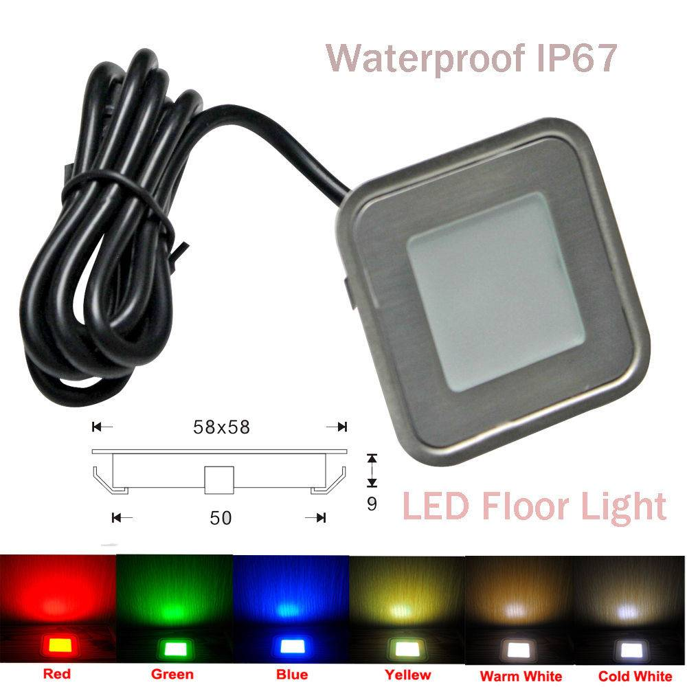 Square LED Deck Light Outdoor IP67 Stainless Steel