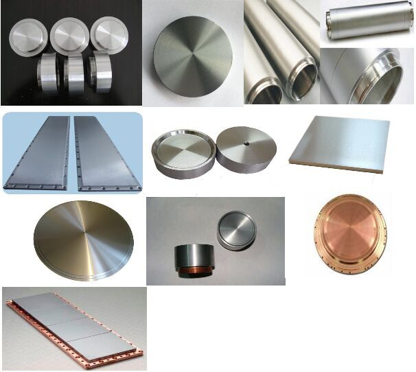 titanium, zirconium, tungsten, molybdenumPure metal and metal alloy sputtering target material list