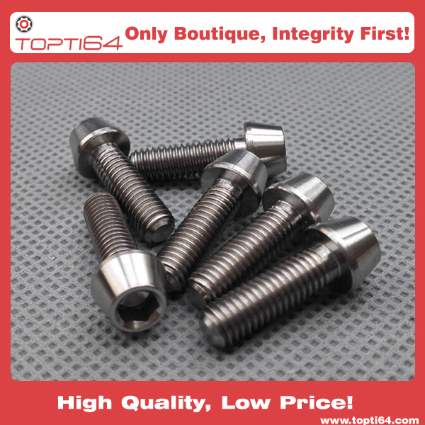 Gr.5 TI6AL4V Titanium Bolt Ti Screw Taper Head Conical Head M8 x 35mm