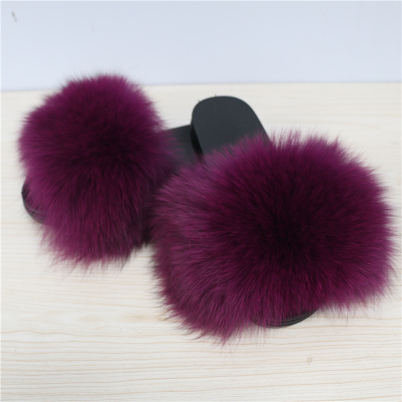 Best-selling attractive Design women's warmer purple soft fox fur slipper