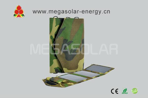 15W Folding Solar Charger With 5 different types of tips for USB