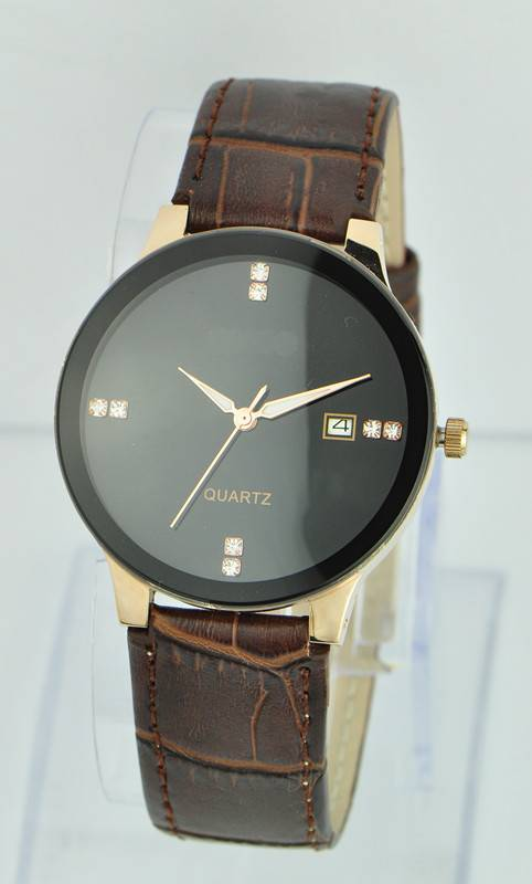 OEM watch, factory price cheap leather band stainless steel case back wrist watch