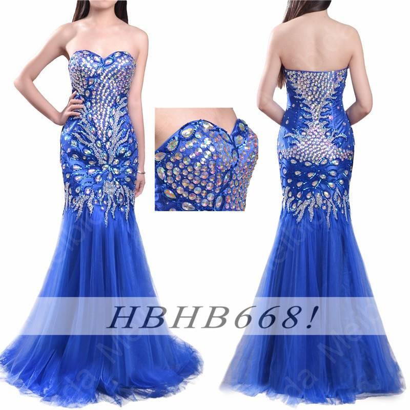 Beautiful Sweetheart Rhinestone Beaded Royal Blue Long Mermaid Evening Dress