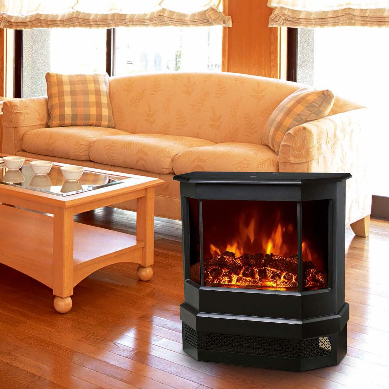 Electric Fireplace Heater 3 Sided Freestanding electric Stove EF330 Log flame effect comfortable war