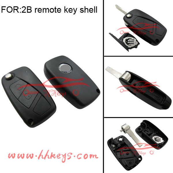 Fiat 2 button flip key shell blank car key cover case with logo and battery holder