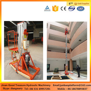 Electric hydraulic aluminum mast vertical man lift with competitive price