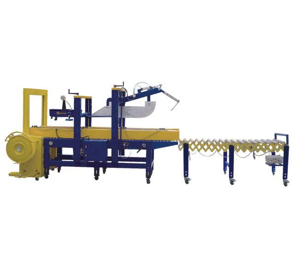 Full automatic folding, sealing and strapping assembly line