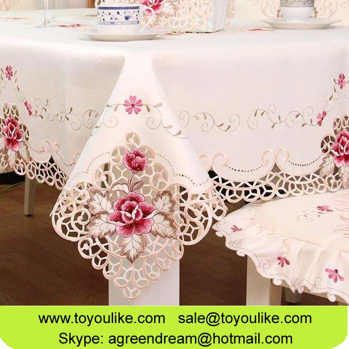 Toyoulike Home Decor Table Cloth Handmade Cutwork Embroidery Rectangle Round Square Tablecloth Linen