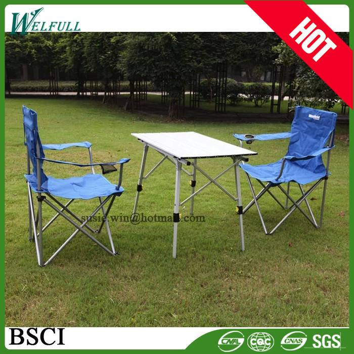 Wholesale Outdoor Adjustable Aluminum Dining Portable Folding Table And Chair Set