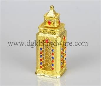 antique arabic pefume bottle with golden plating