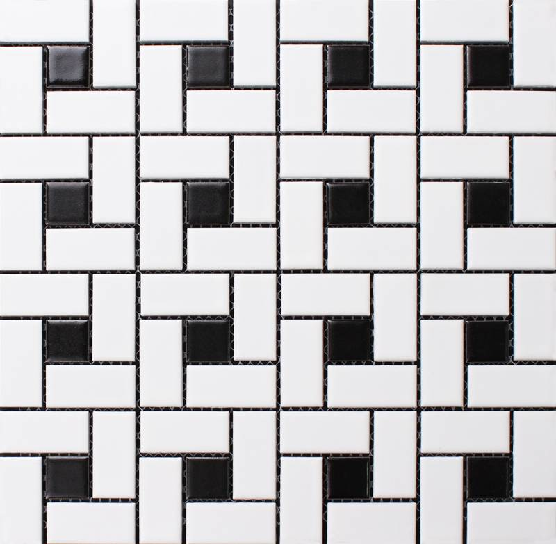 Black & white Pinwheel Ceramic mosaic