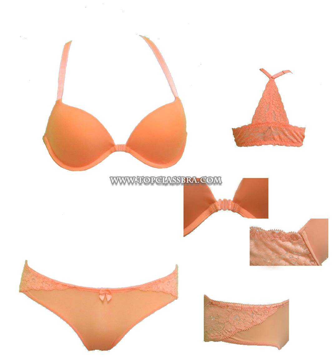 Colorful Front Closure Underwear Set, Racer Back Bra with Elegant Lace Trimming Panty