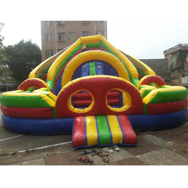 Amusement park circular inflatable slide