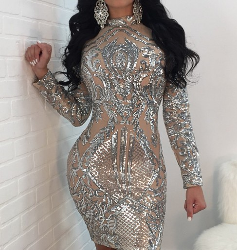 2017 Wholesale sexy sparkling sequined bodycon dress long leeve