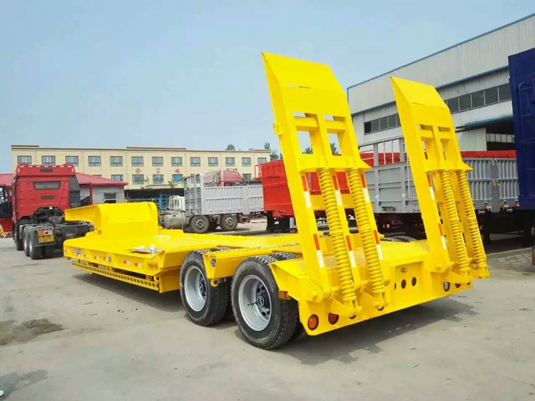 tri- axle 12 wheels low bed trailer 100 ton
