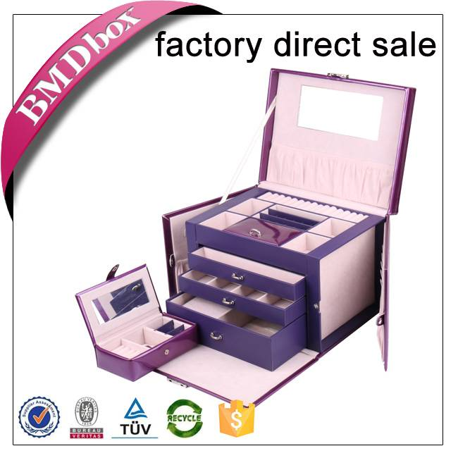 large purple leather jewelry box with lock