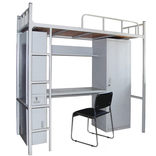 School furniture strong structure bunk bed with locker and computer desk
