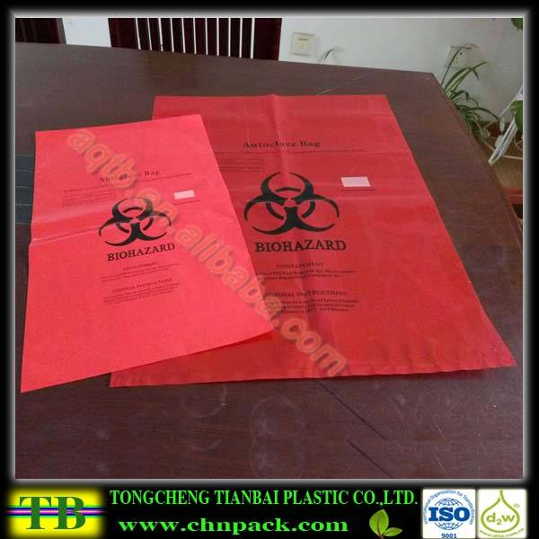Red color hospital biohazard bags