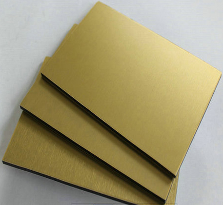 Gold brushed PVDF Coated Aluminum Composite Panel, Recycled LDPE Core for Interior Finishing