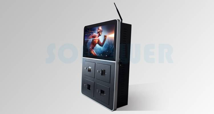 Wall Mounted Android Digital Signage Display Cell Phone Charging Kiosk HD WiFi Advertising LCD Video