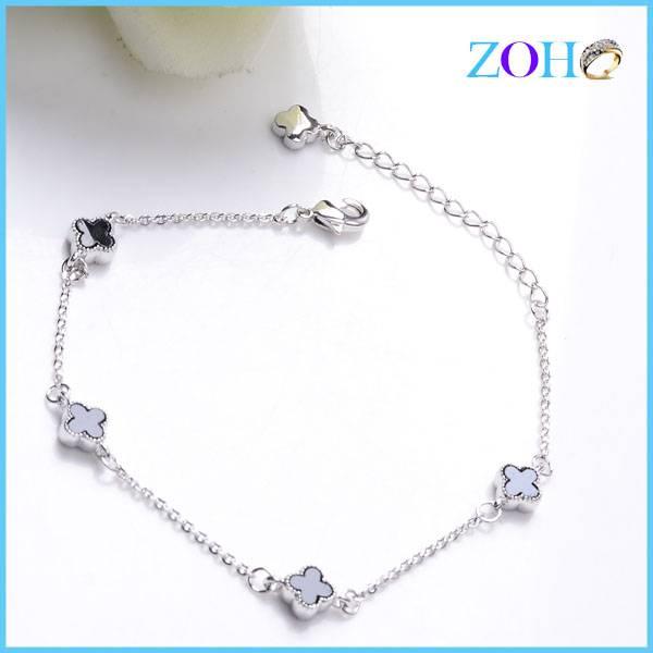 Best four leaf clover link chain rhinestone bracelets custom bracelets gifts item