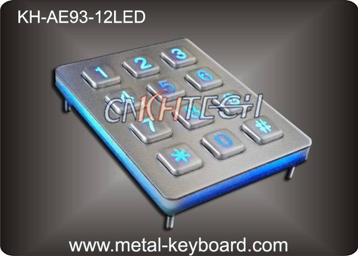 KH-AE93-12LED Back light Numeric Keypad in 4x4 Matrix 16 Keys , Stainless Steel Keypad