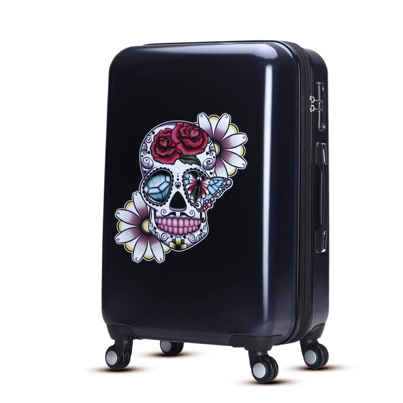 Black abs pc trolley luggage with soft silicon handle