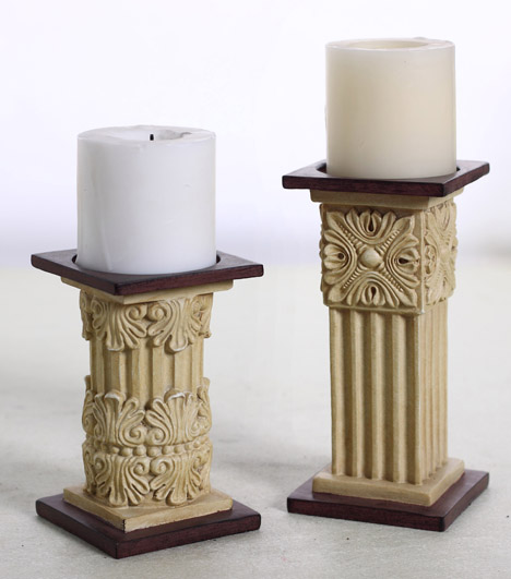 Rome column couple resin tealight candle holders